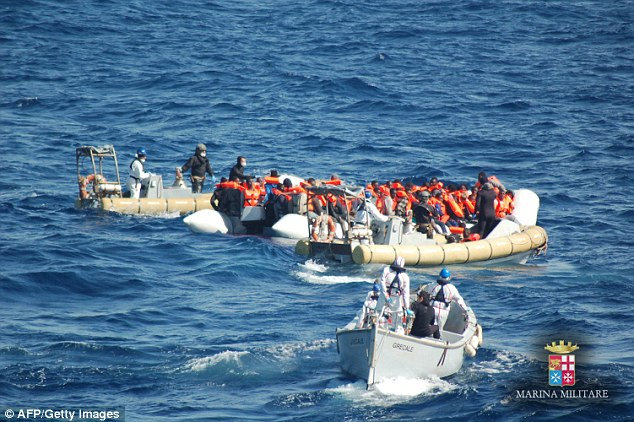 Since Tuesday alone, more than 2,400 migrants have been intercepted off Libya by Italian coastguards (pictured)