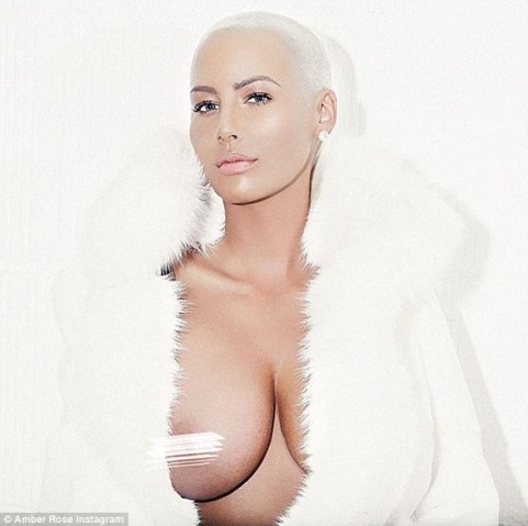 Exposed: Amber Rose shared a racy snap exposing her breast for the Free The Nipple campaign on Thursday