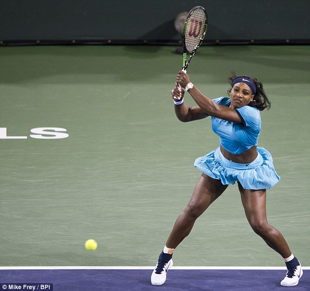 Her court: On Friday, Serena took part in the BNP Paribas Open in Indian Wells, California