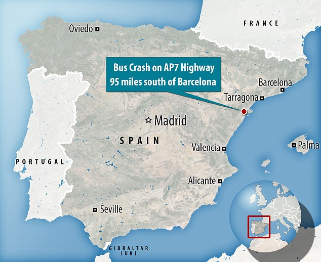 A map showing the location of the bus crash between Barcelona and Valencia in Spain