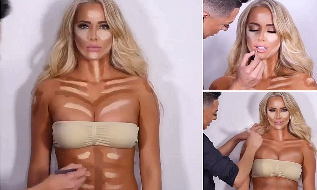 Video shows make-up artist contouring model's abs and cleavage to create perfect look