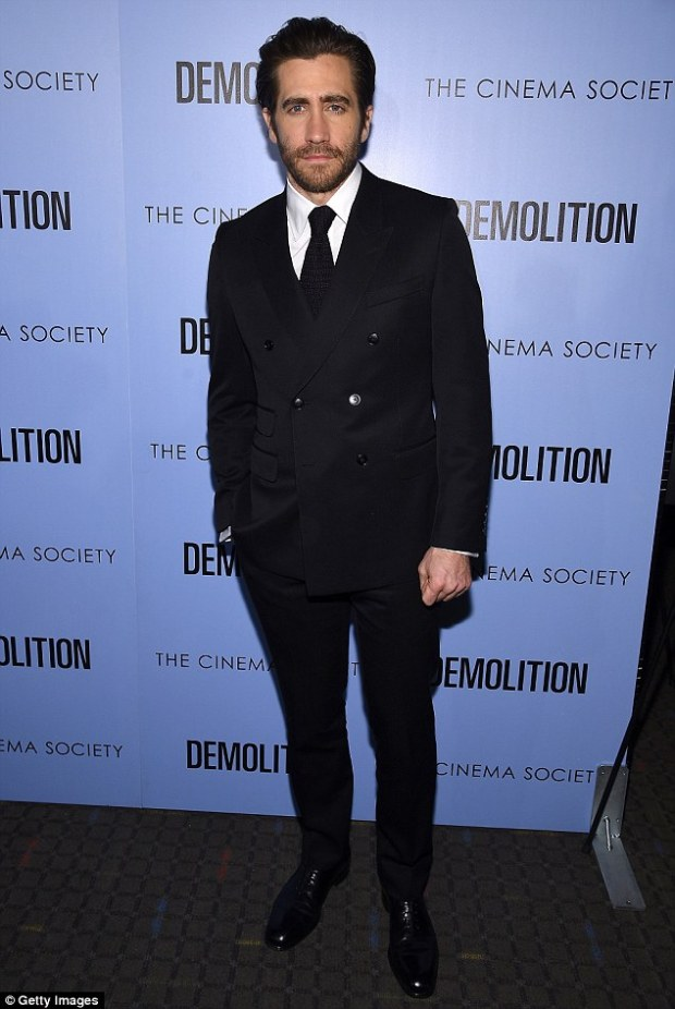 Heartthrob: Jake Gyllenhaal was handsome in a black suit and tie