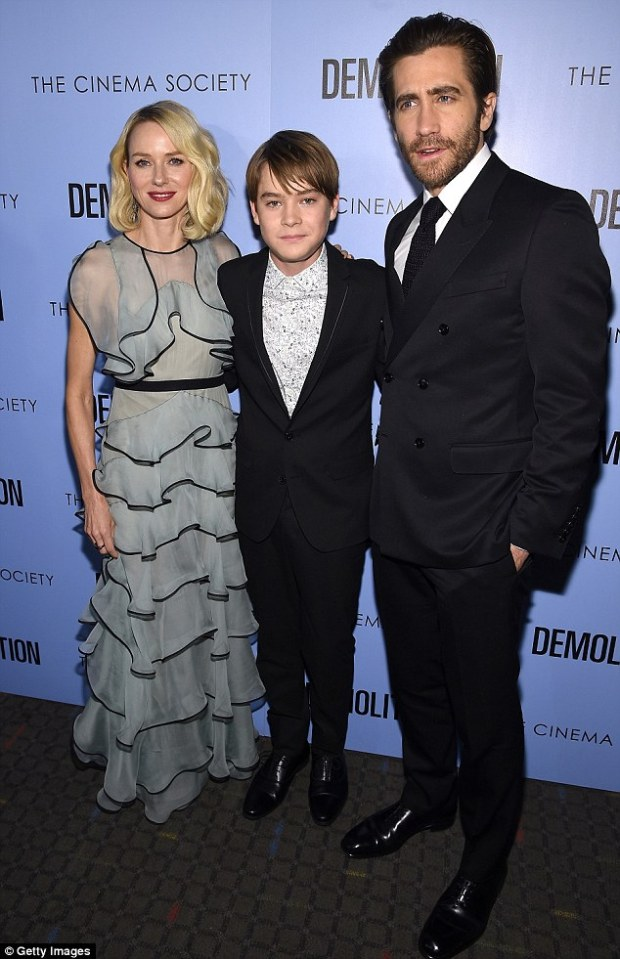 On-screen family: The actors posed alongside their young co-star Judah Lewis