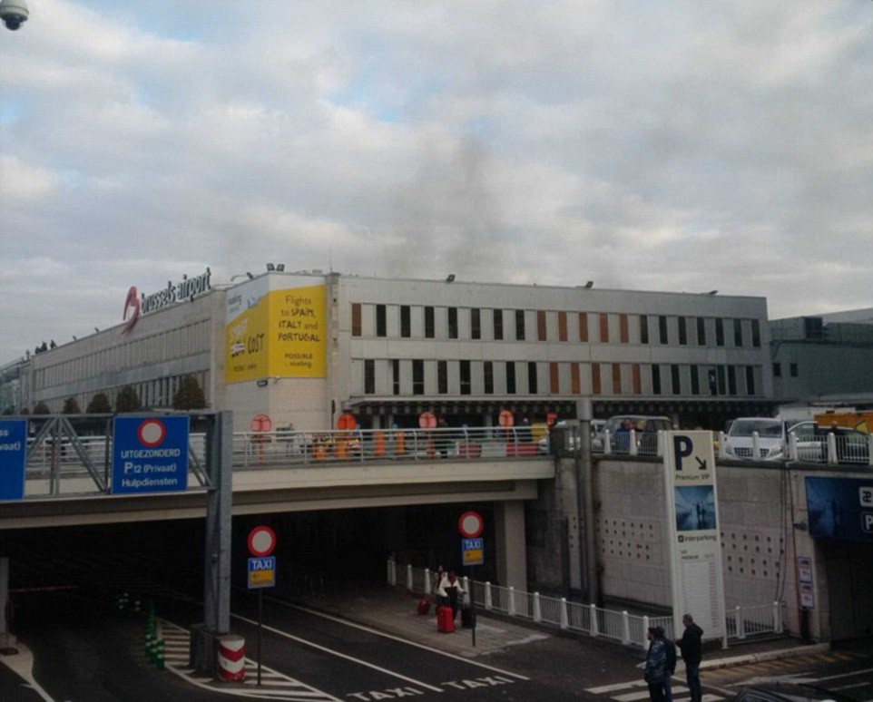 Pictures show the terminal window blown in from the force of the explosion and smoke rising high into the sky