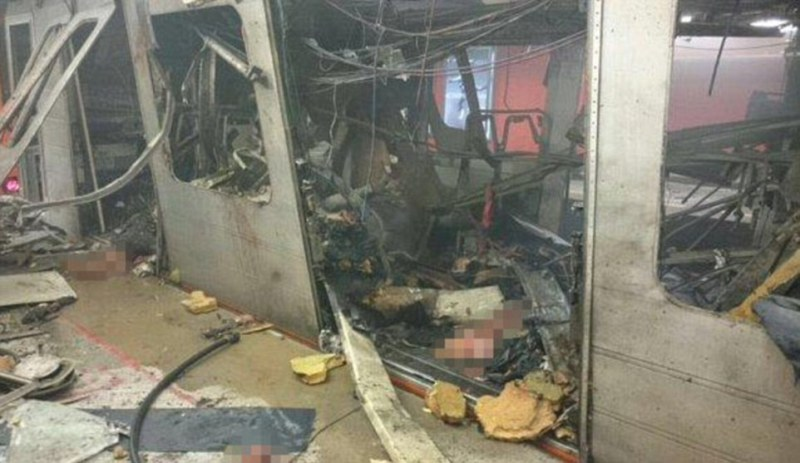 Explosion:The image above is being used by the Belgian media who claim this is the damage caused by the bomb at the Maelbeek Metro station in central Brussels this morning. It has not been verified by the authorities but is being widely circulated on social media.