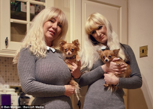 Janet Horrocks, left, has spent £40,000 on a number of cosmetic procedures including a breast augmentation, eye lift, nose job, Botox and filler injections, in a quest to look like her 35-year-old daughter Jane, right