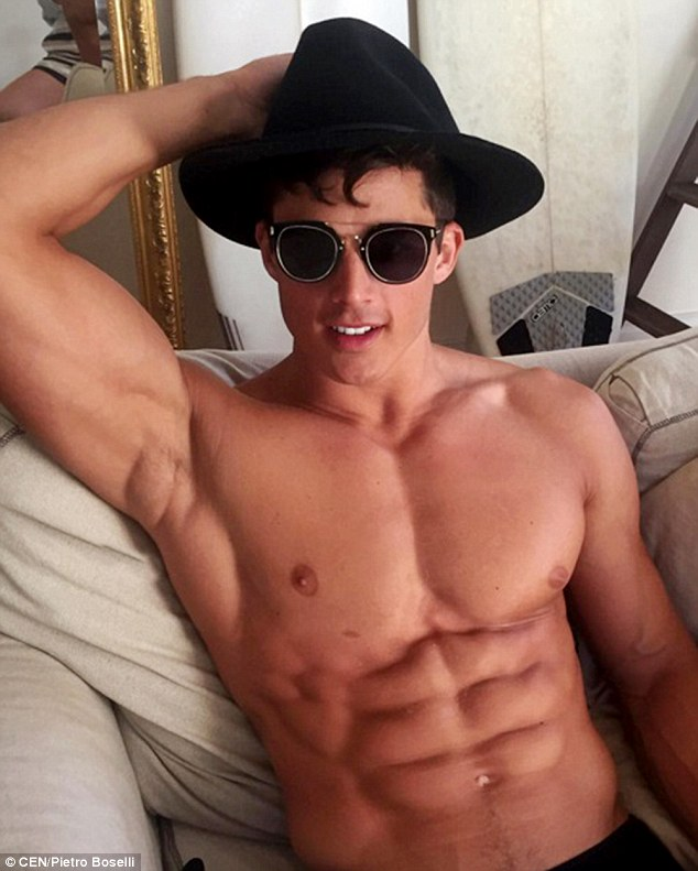 Pietro, who signed with top agency Models 1, says he's not worried about students seeing him posing topless