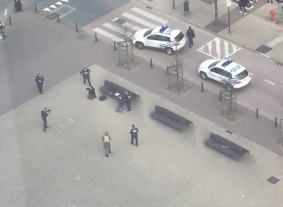 Interventions: The arrests came as the authorities start to round up any people deemed a risk to the public, including here at Brussels North station - a mile from the Maelbeek bombing