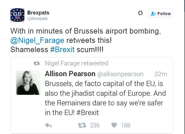 British expats living on the continent called Nigel Farage 'shameless Brexit scum' for retweeting a post that branded Brussels as the 'jihadist capital of Europe... the Remainers dare to say we're safer in the EU'
