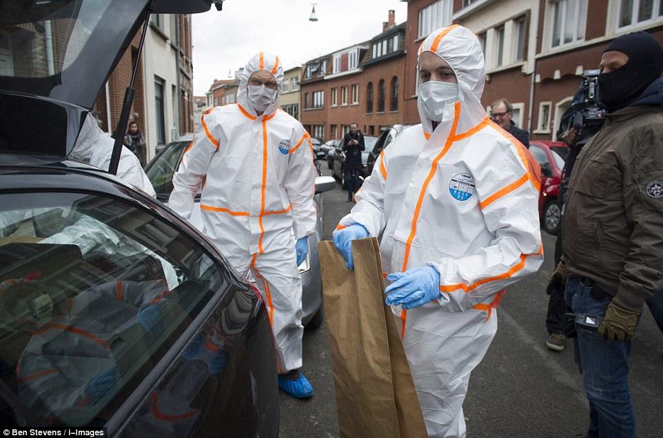 Nueva incursión: fuerzas especiales irrumpieron en una pizzería en Anderlecht justo después del amanecer esta mañana - con algunos medios de comunicación belgas afirman erróneamente Najim Laachraoui estaba dentro.  oficiales de análisis forense pruebas se llevaron en bolsas de papel después de un hombre y dos mujeres fueron detenidos