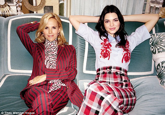 Not for her:As Vogue shadowed the reality star for the day she sat down with Fashion force Tory Burch (left) who quizzed the young model about her future including whether she would go to college. The model said she already has a job, she did not felt she needed to go