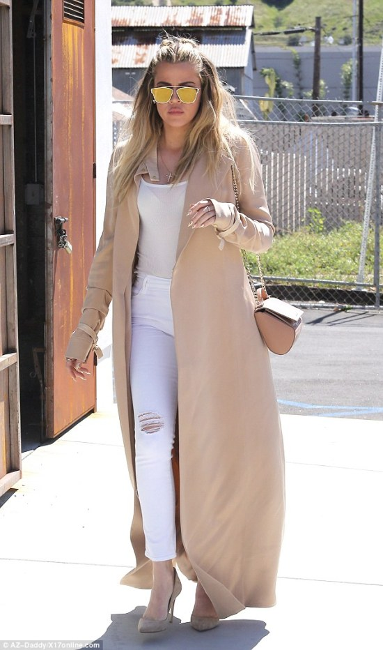 Getting the claws out: Khloe Kardashian was spotted out in Van Nuys on Wednesday