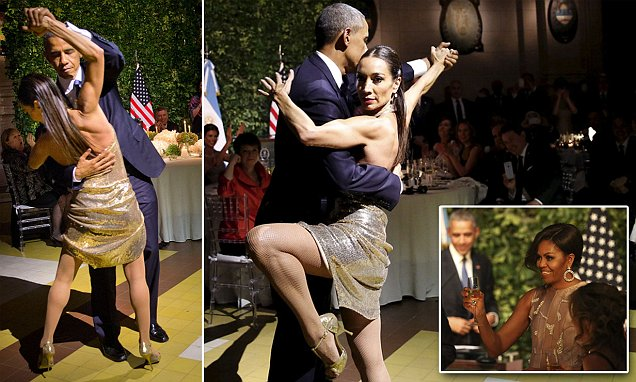 Obama dances while Brussels burns: President ignores calls to come home in wake of terror