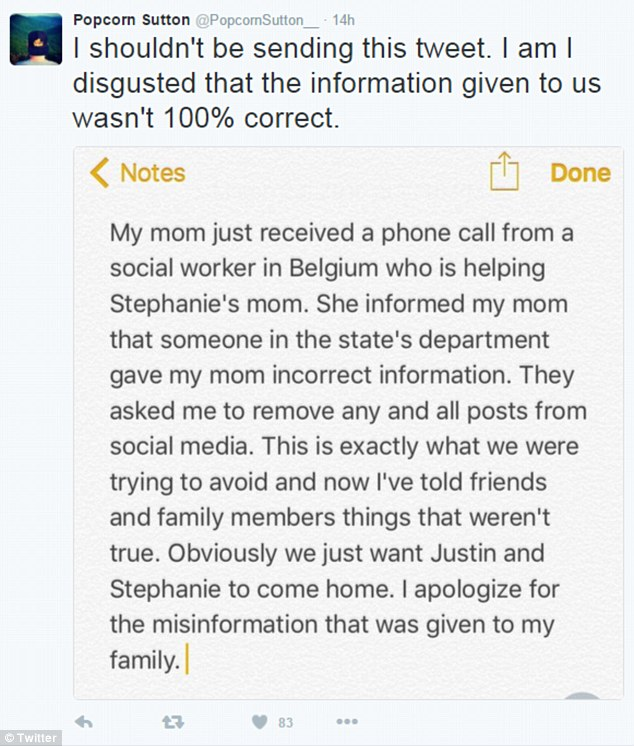 Disgusted: Justin Shults' brother wrote this tweet after receiving false information about his brother from a social worker