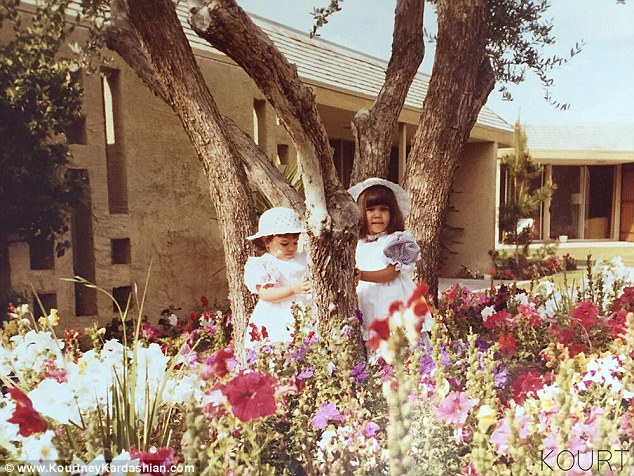 Sibling style: Rewind three decades, and their moms were doing the very same thing, except instead of wearing cutting edge fashion the cousins, Kim and Kourt were were dressed in their frilly Easter best