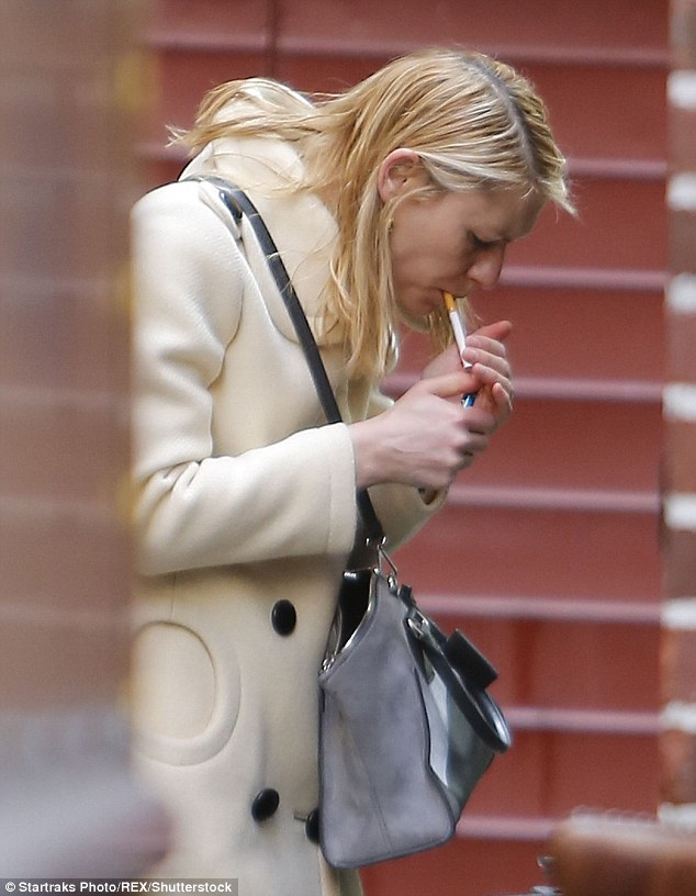Hidden habit? Claire Danes, 36, grabbed a cheeky smoke in New York City on Sunday