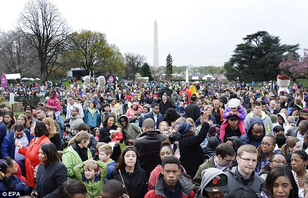 Around 35,000 people were at the White House for the event as the US Capitol was locked down