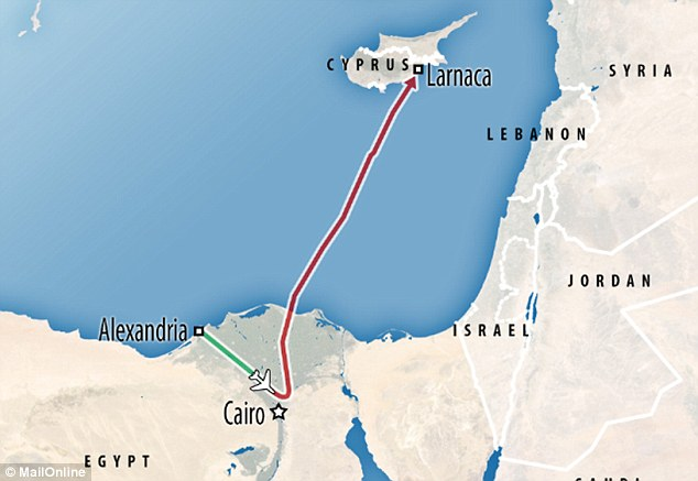 After leaving Alexandria the plane was diverted from it's route to Cairo, and flown to Cyprus
