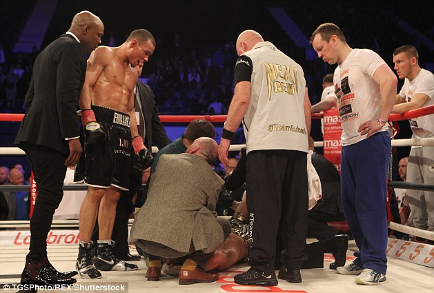 Blackwell was taken from the ring on a stretcher and transported to hospital after collapsing nine days ago