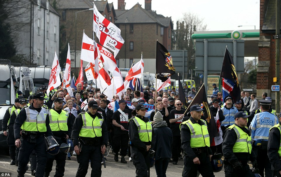 A similar demo caused a day of chaos in January and police were ready for a similar number of marchers and protesters