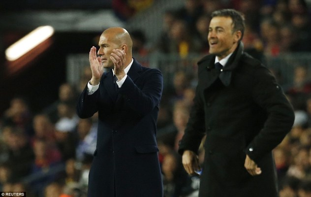 Real Madrid manager Zinedine Zidane (left) and Barca boss Luis Enrique shouts instructions from the sideline
