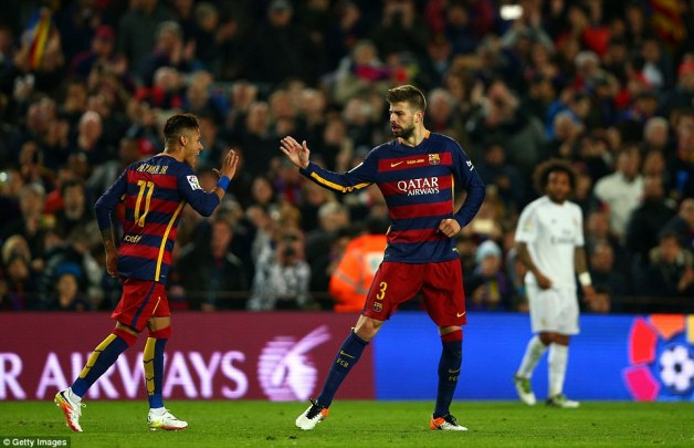 Pique is saluted by Barca team-mate Neymar as his 56th-minute effort put the Catalan giants into a second-half lead