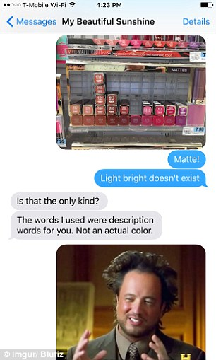Evidently confused by his instructions, the man asks his girlfriend to clarify what she meant by 'light bright'