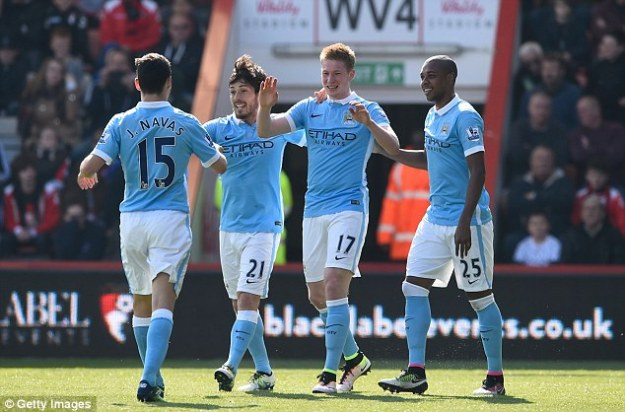 Kevin De Bruyne (centre) is City's record signing, arriving for a transfer fee of £55million