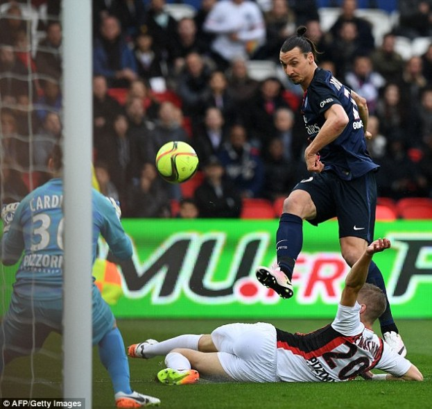 But Cavani has often been deployed in a wider role in order to accommodate Zlatan Ibrahimovic (right)