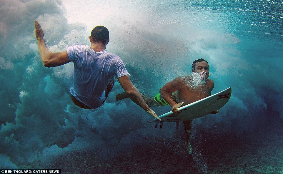 The photographer says of the experience: 'It's a whole new perspective that the ocean is offering you'