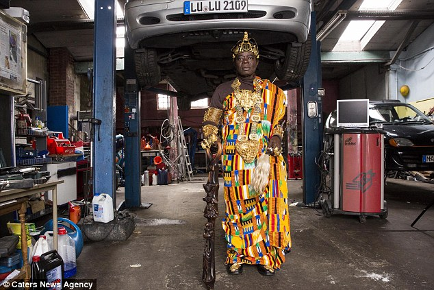 Dressed in all his royal finery, Céphas Bansah, helps to govern more than two million Ghanaian and Togolese people