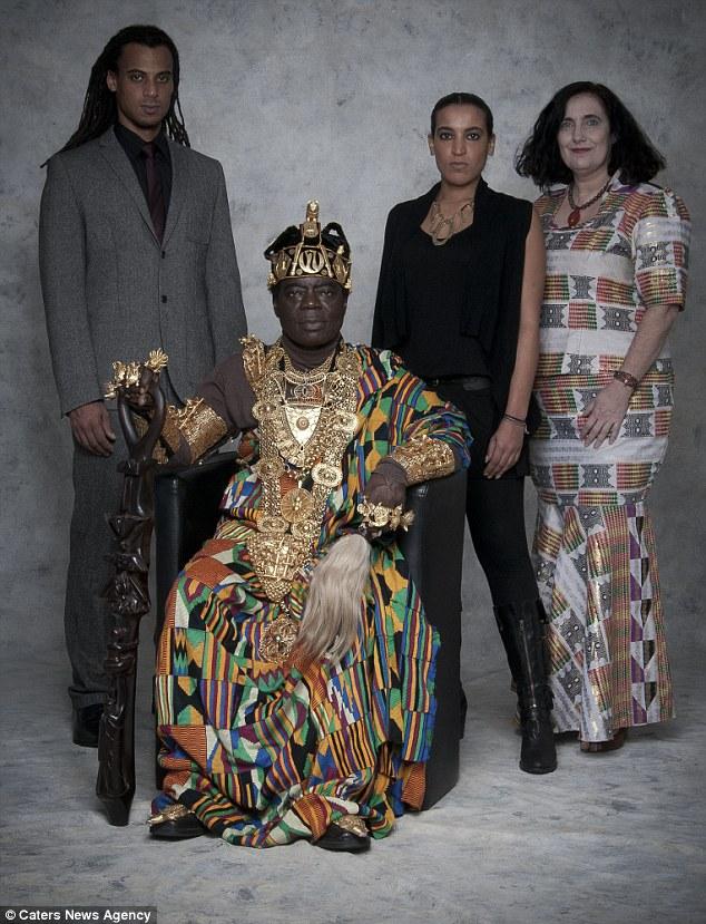 King Bansah is pictured with his son Carlo Bansah (left), his daughter Katharina Bansah (centre) and his wife Gabriele Bansah (right)
