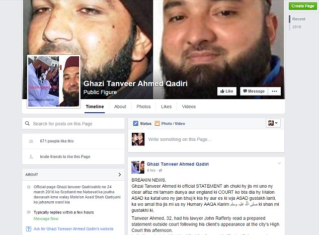 A 'horrific' Facebook page has now been set up which appears to praise Ahmed as a 'Muslim warrior'