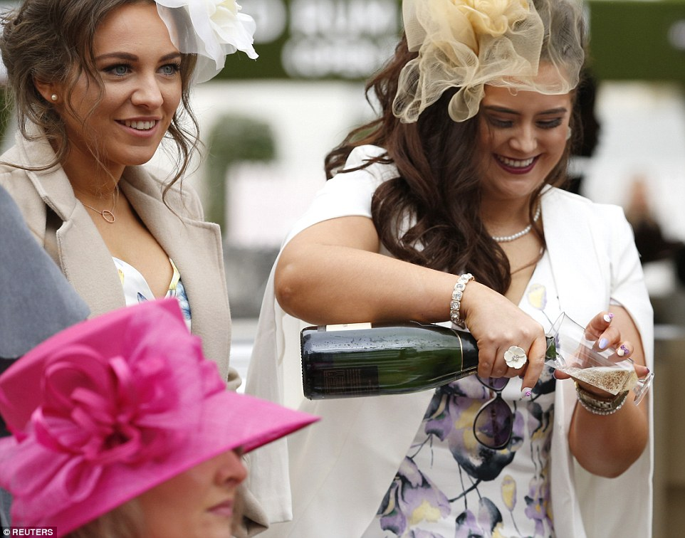 Getting the party started: The bubbly was already flowing before the clock struck midday