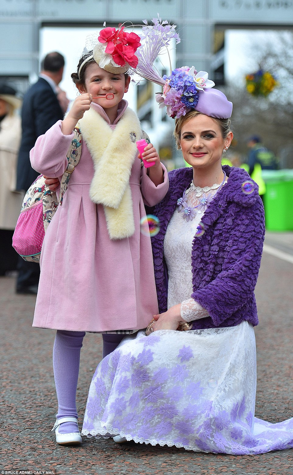 Linda Morrison and her nine-year-old daughter Poppy from Scotland looked delightful in their purple outfits and fascinators