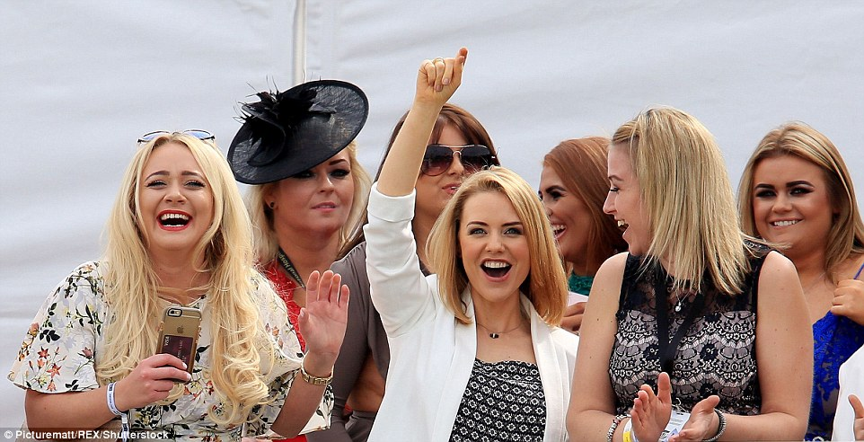 Hollyoaks' Stephanie Waring (centre) and Kirsty Leigh Porter (left) got into the spirit of the festival as they cheered on the riders