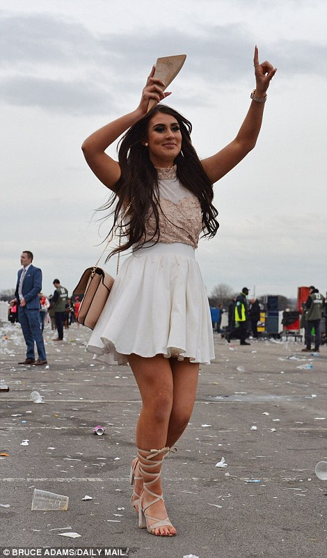One woman was keen to keep the party going as the racecourse emptied out