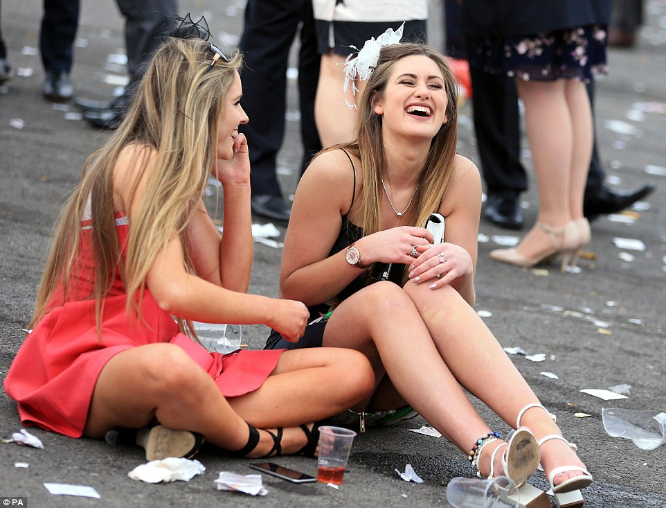 The drinks were flowing fast at Aintree, in Liverpool, from the morning to the evening, as race-goers enjoyed the second day