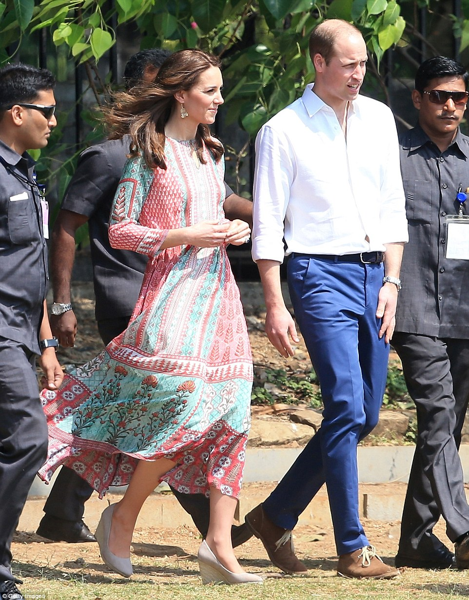 Looking relaxed: After leaving their hotel, the Duke and Duchess of Cambridge headed to Mumbai's Oval Maidan, a Grade 1 recreation ground in the south of the city for a game of cricket with some of the city's many thousands of street children