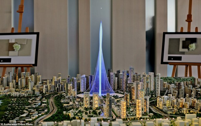 A model of the Tower Project at Dubai Creek Harbour Development designed by Spanish-Swiss architect Santiago Calatrava Valls