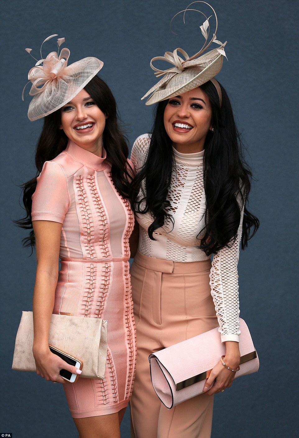 Two girls who look like they could be sisters were a vision in co-ordinated shades of pink