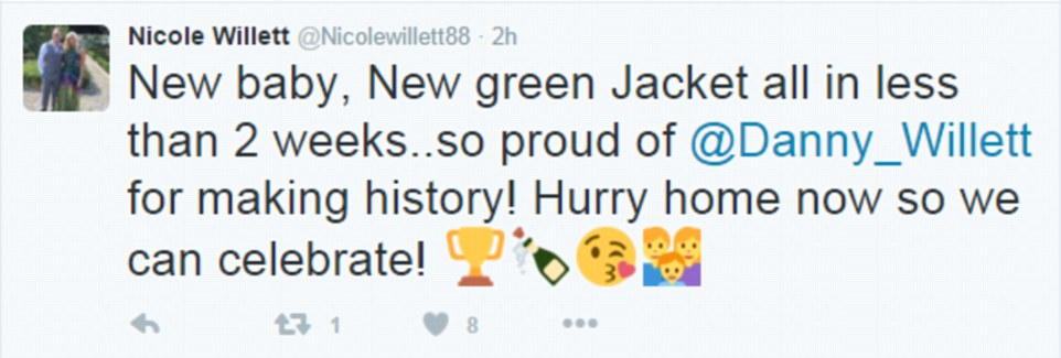 Mrs Willett also took to Twitter to say how proud she was of her husband, and how she was keen for him to return to the UK