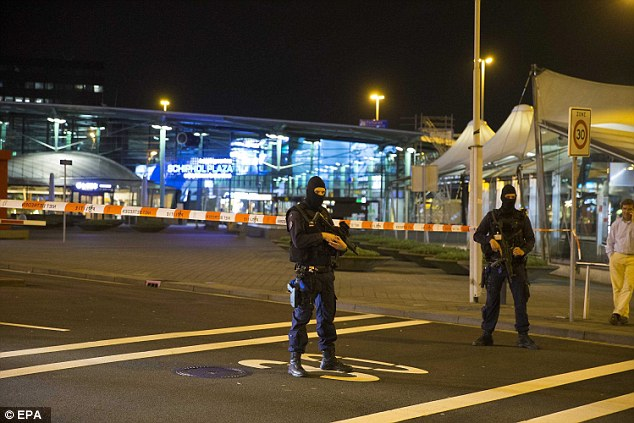 Armed: Schiphol Plaza and the next door Sheraton Hotel has been cleared as a precaution