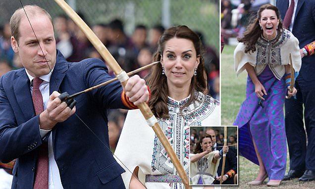 Kate Middleton e príncipe William tiro com arco no Butão durante Índia viagem
