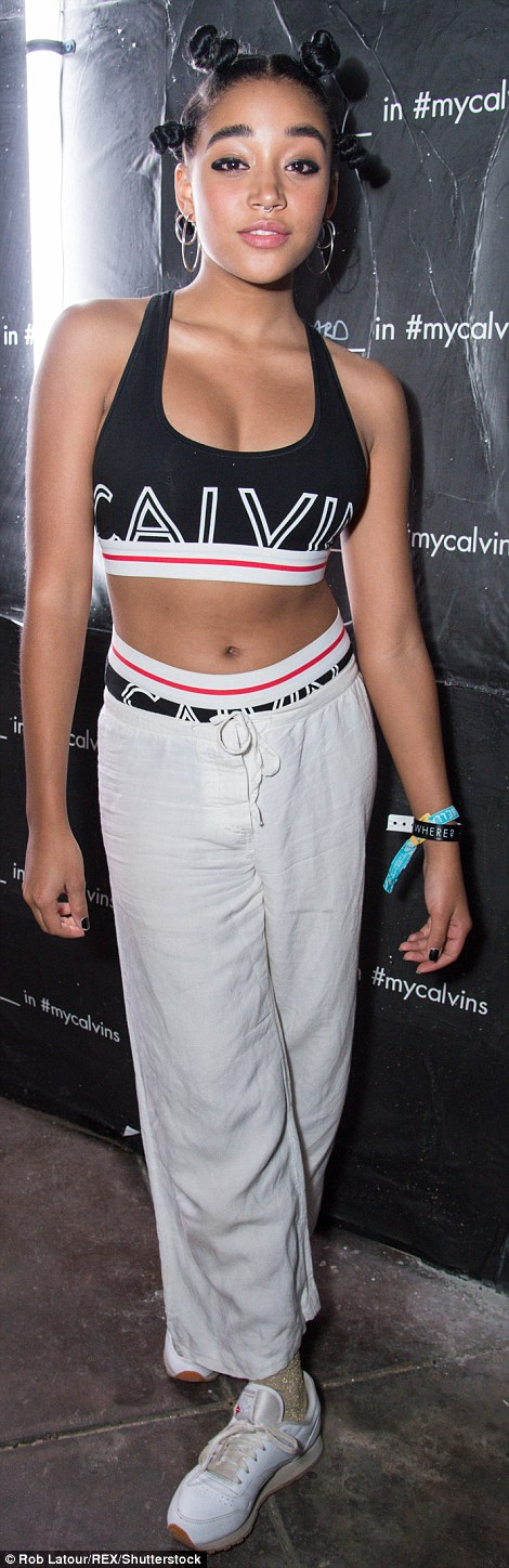 Hunger Games actress Amandla Stenberg went for top-to-toe Calvin Klein at a private party at the Palm Springs festival