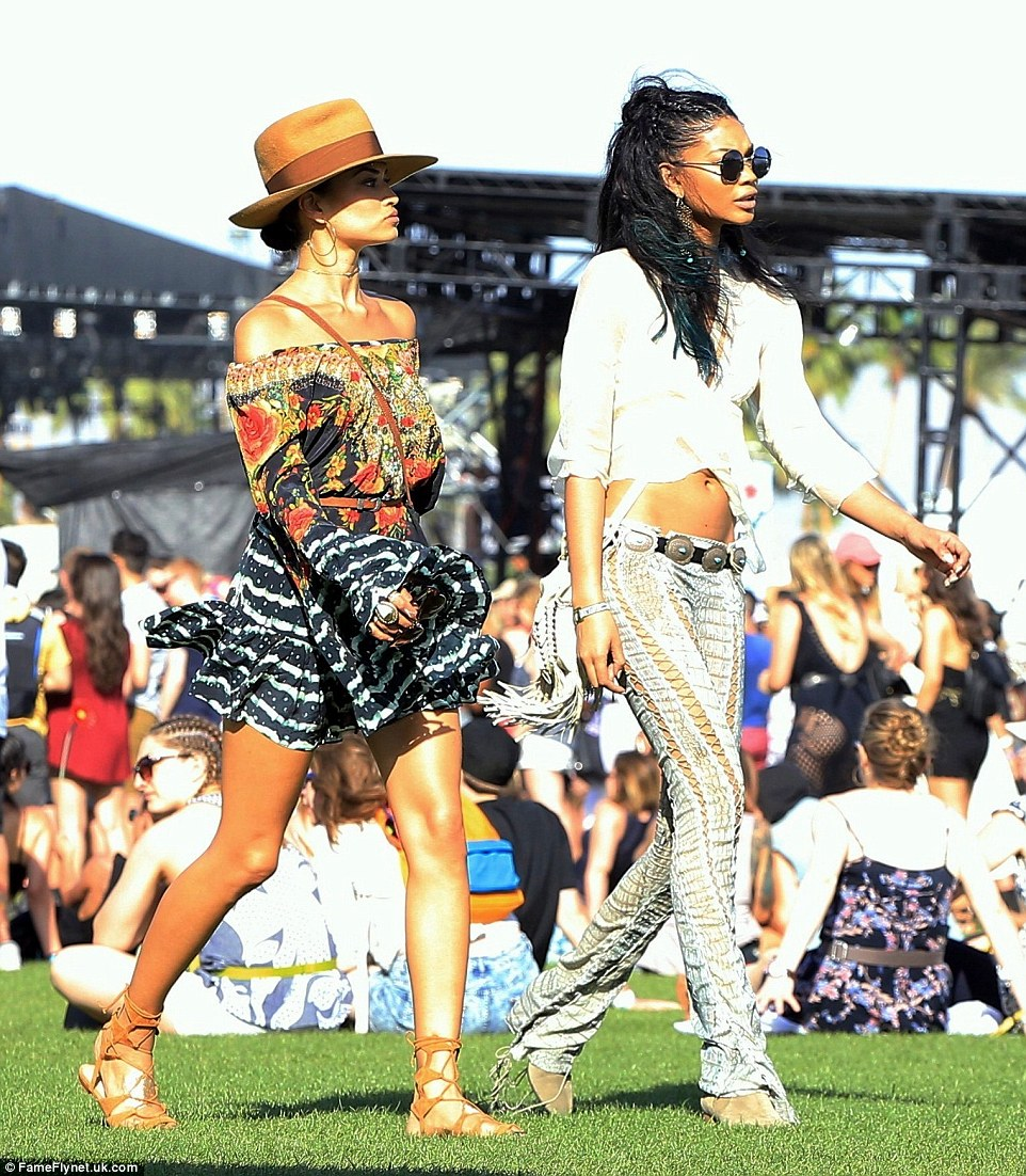 Supermodel pals Shanina Shaik (left) and Chanel Iman (right) treat the festival like a runway show