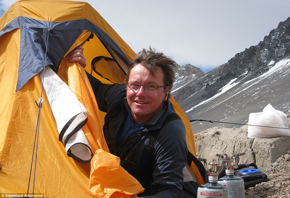 Gavin is pictured in his tent at Base Camp, where climbers are based for ten weeks before they reach Everest summit