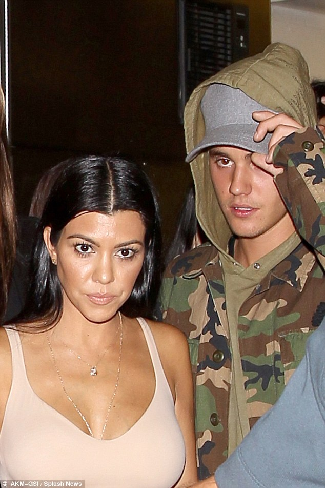 This won't die down:People magazine reported last week that Kourtney has been seeing Justin Bieber, 22, again 'on and off' for several months; here they are seen in October at The Nice Guy. They were first linked in the fall