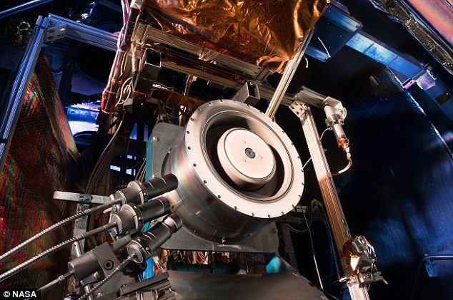 A second part of the project will see Nasa develop propulsion systems to take craft far beyond the moon. Shown here is a 13 kW Hall thruster being evaluated at Nasa's Glenn Research Center. Hall thrusters trap electrons in a magnetic field and use them to ionize the onboard propellant