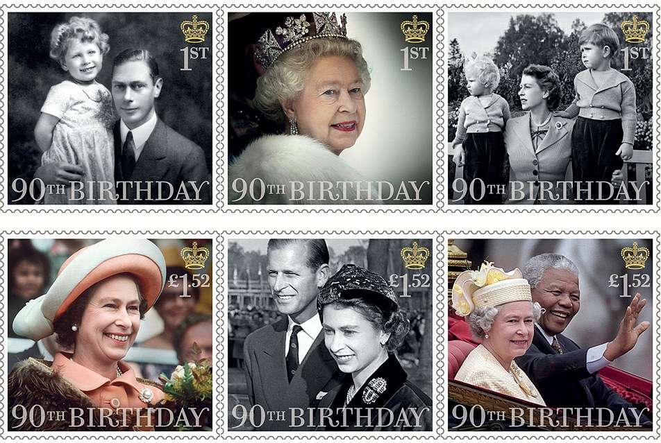 Seis novos selos (foto) também foram liberados - três incidindo sobre a vida familiar da rainha e três honrar seu papel oficial